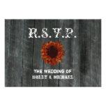 Wedding RSVP Card - Barnwood & Sunflower Personalised Invitation