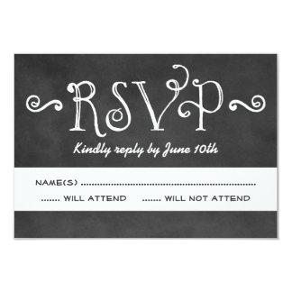 Wedding RSVP Card | Black Chalkboard Charm 9 Cm X 13 Cm Invitation Card