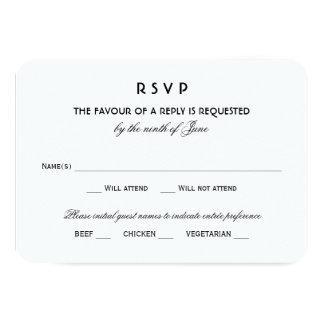 "Wedding RSVP Card | Black Vintage Glamour 3.5"" X 5"" Invitation Card"
