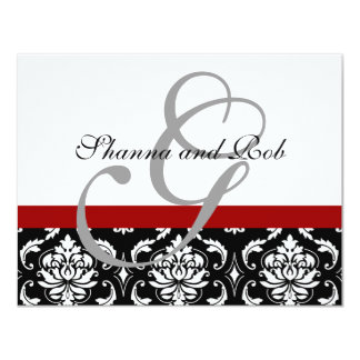 Wedding RSVP Card Damask with Menu Choices 11 Cm X 14 Cm Invitation Card