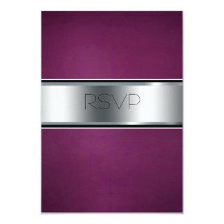 "Wedding RSVP Card, Elegant Burgundy and Silver 3.5"" X 5"" Invitation Card"
