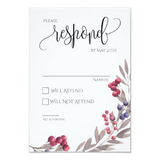 Wedding RSVP Card Floral Frame 3.5x5
