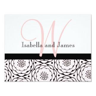 Wedding RSVP Card Floral Pink Monogram & Names 11 Cm X 14 Cm Invitation Card
