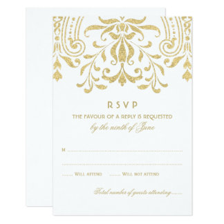 Wedding RSVP Card | Gold Vintage Glamour