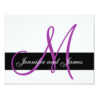 Wedding RSVP Card Monogram Names Purple Front 11 Cm X 14 Cm Invitation Card