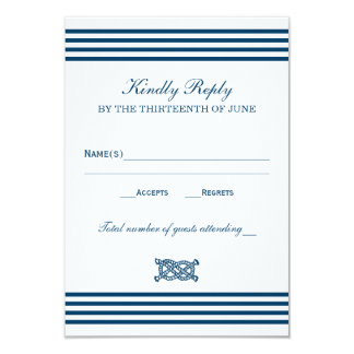 Wedding RSVP Card | Nautical Stripes Theme Personalized Announcement