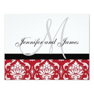 Wedding RSVP Card Red Damask Monogram & Names 11 Cm X 14 Cm Invitation Card