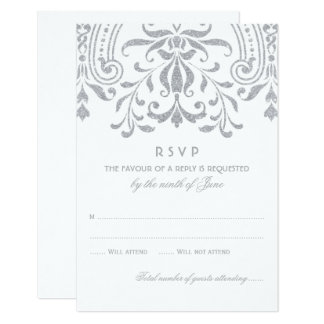 Wedding RSVP Card | Silver Vintage Glamour