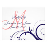 Wedding RSVP Card Swirls Navy Blue Coral Pink Invitations