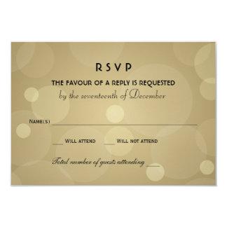 Wedding RSVP Cards | Black and Champagne Gold 9 Cm X 13 Cm Invitation Card