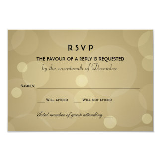 Wedding RSVP Cards | Black and Champagne Gold 9 Cm X 13 Cm Invitation Card