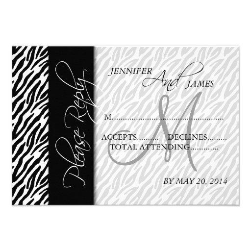 Wedding RSVP Cards Black Zebra Pattern Monogram Personalized Invitation