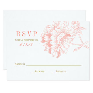 Wedding RSVP Cards   Coral Floral Peony