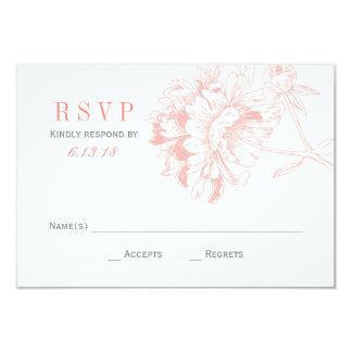 Wedding RSVP Cards | Coral Floral Peony 9 Cm X 13 Cm Invitation Card