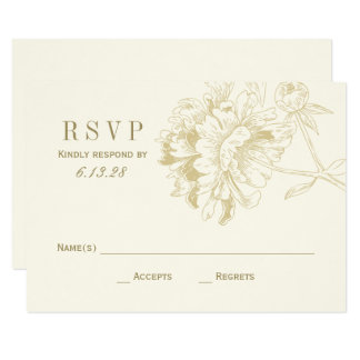 Wedding RSVP Cards | Gold Floral Peony