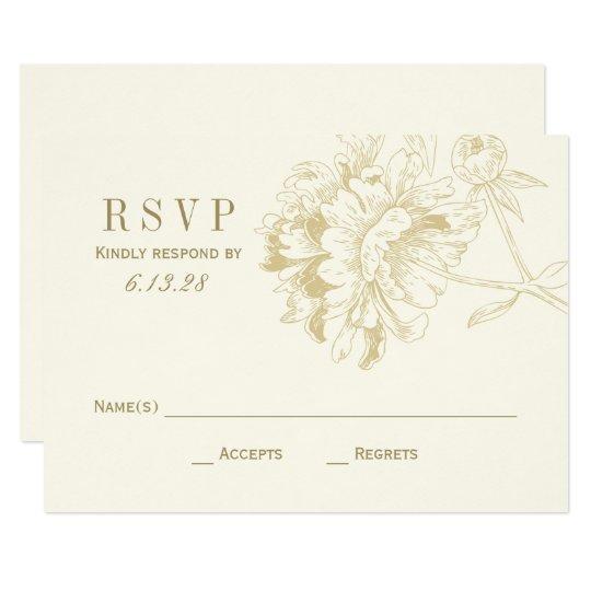 Wedding RSVP Cards | Gold Floral Peony