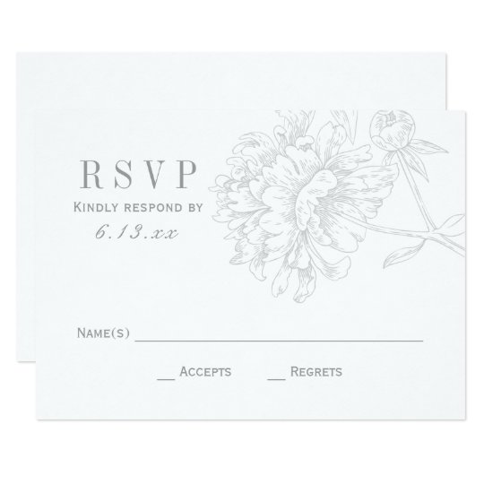 Wedding RSVP Cards | Grey Floral Peony