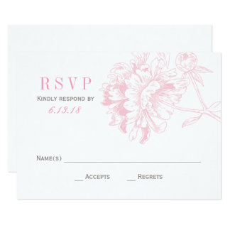 Wedding RSVP Cards | Pink Floral Peony