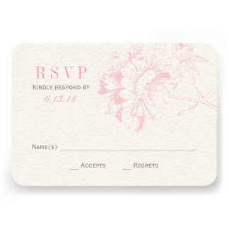Wedding RSVP Cards Pink Floral Peony