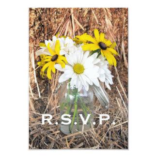 Wedding RSVP: Daisies & Black Eyed Susans On Hay Invite