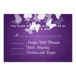 Wedding RSVP Elusive Butterflies Purple Card