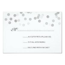 Wedding RSVP Faux Silver Foil Glitter Lights 9 Cm X 13 Cm Invitation Card