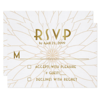 Wedding RSVP,Great Gatsby,gold light white Card
