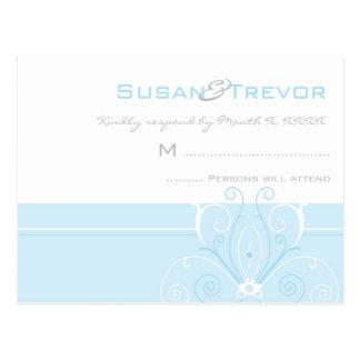 Wedding RSVP Post Card - Modern Deco