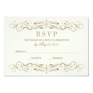 Wedding RSVP Postcard | Antique Gold Flourish 9 Cm X 13 Cm Invitation Card