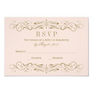 Wedding RSVP Postcard | Antique Gold Flourish 9 Cm X 13 Cm Invitation Card