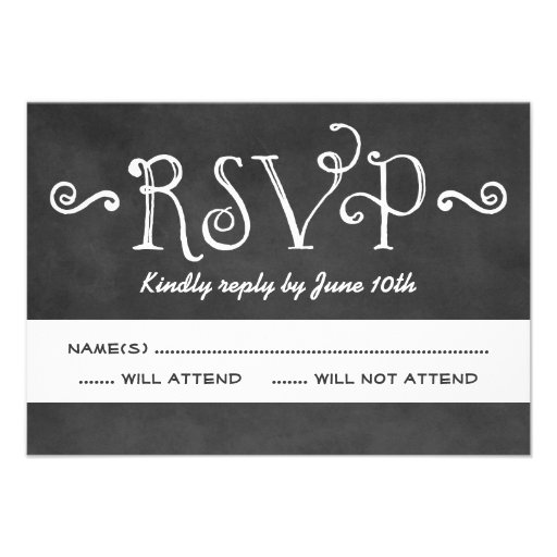 Wedding RSVP Postcard | Black Chalkboard Charm Personalized Announcement