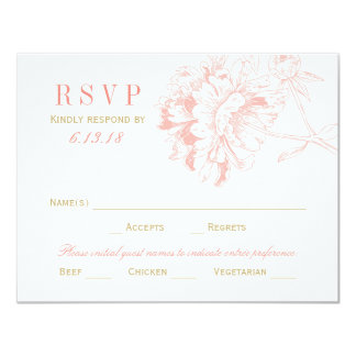 "Wedding RSVP Postcards | Coral Floral Peony 4.25"" X 5.5"" Invitation Card"