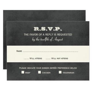 Wedding RSVP Postcards | Vintage Black Chalkboard