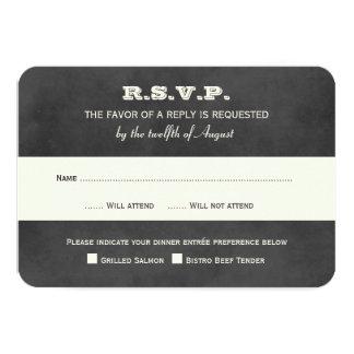 Wedding RSVP Postcards | Vintage Black Chalkboard Invitation
