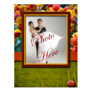 Wedding RSVP Rustic Fall In Love Custom Photo Postcard