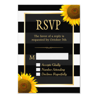 Wedding RSVP Rustic Sunflower Black White Striped 9 Cm X 13 Cm Invitation Card