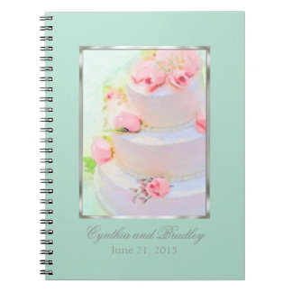 Wedding RSVP Tracker Notebook Cake Mint Green