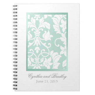 Wedding RSVP Tracker Notebook Mint Green Damask