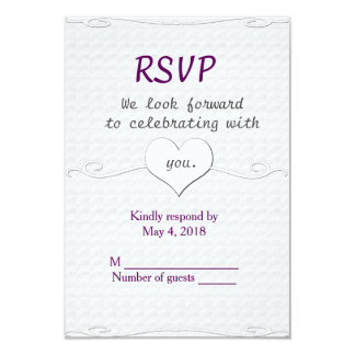 Wedding RSVP vertical-Heart and Swirl 9 Cm X 13 Cm Invitation Card