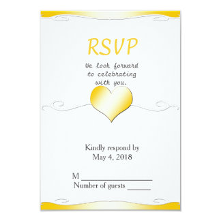 Wedding RSVP vertical-Heart and Swirl Gold Card