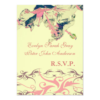 Wedding rsvp Vintage exotic floral brocade Card
