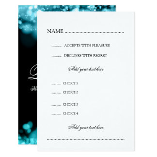 Wedding RSVP With Menu Lights Turquoise Card