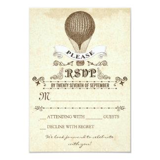 Wedding RSVP with romantic vintage hot air balloon 9 Cm X 13 Cm Invitation Card