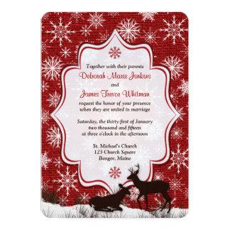 Wedding | Rustic Red Burlap | Snowflakes | Deer Card
