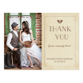 Wedding Rustic Vintage Thank You Photo Postcard
