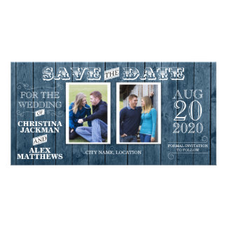 Wedding Rustic Wood Vintage Save The Date 2 Photo Personalised Photo Card