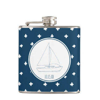 Wedding Sailboat Hip Flask