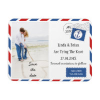 Wedding Save The Date Airmail Envelope Magnet
