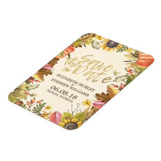Wedding Save The Date Autumn Fall Leaves Pumpkin Magnet