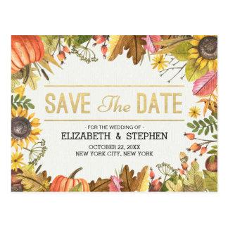 Wedding Save The Date Autumn Fall Leaves Pumpkin Postcard